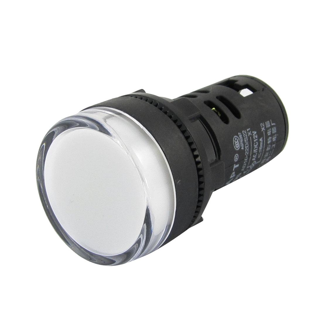 Electrical Circuit White LED Signal Indicator Light AC/DC12V 20mA
