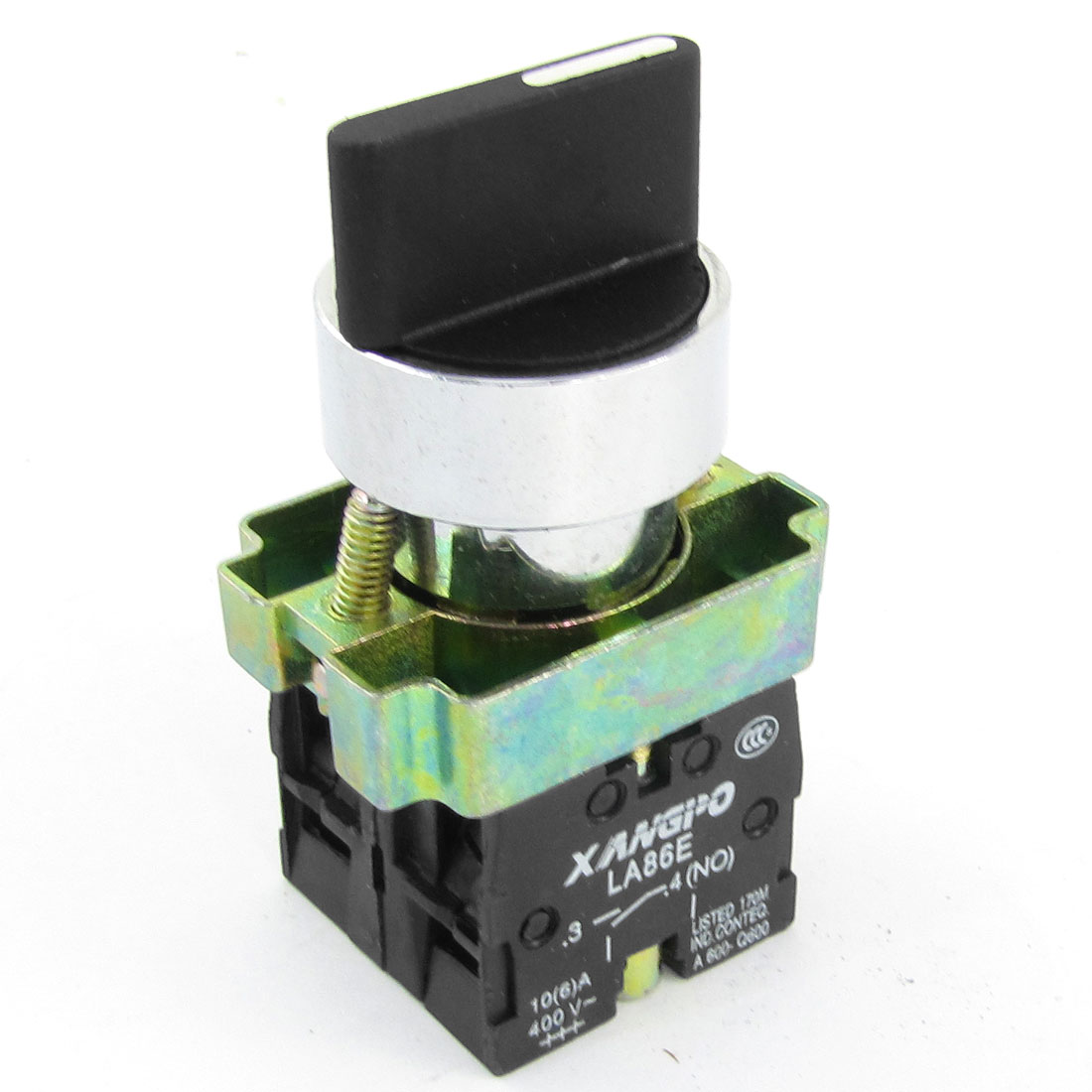 AC 400V 10A 1NO+NC BD33 Model DPST Black Top Selector Self-Locking Rotary Switch