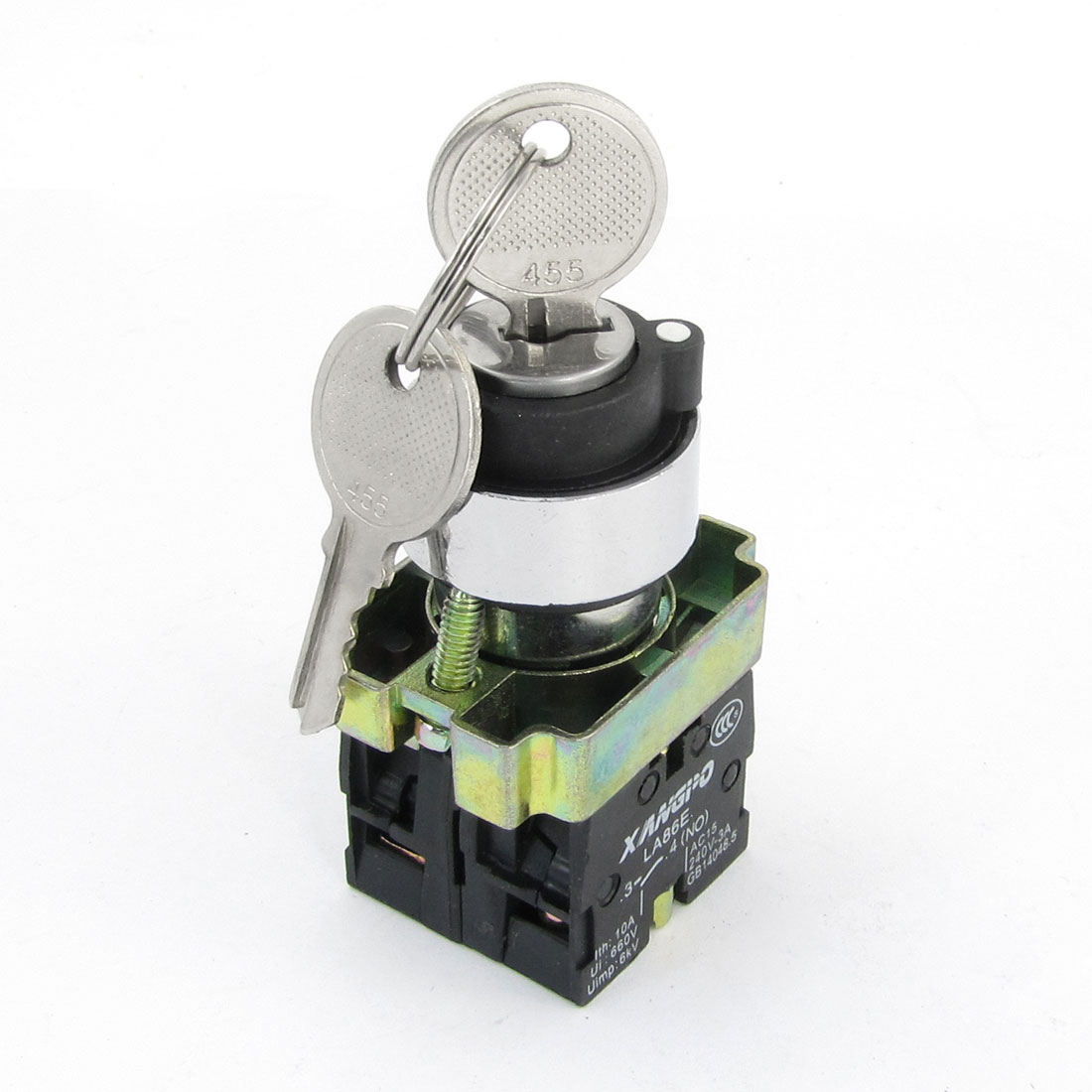 AC 240V 3A 1NO 1NC 4-Terminal Key Rotary Starting Lock Push Button Switch