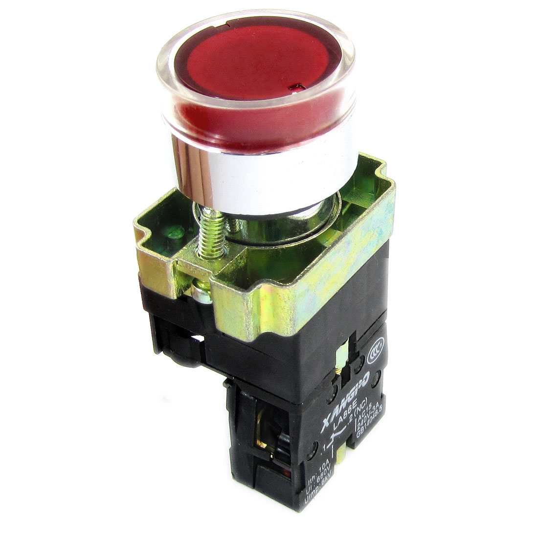 AC 240V 3A Flat Red Top Press Type Momentary Push Button Switch