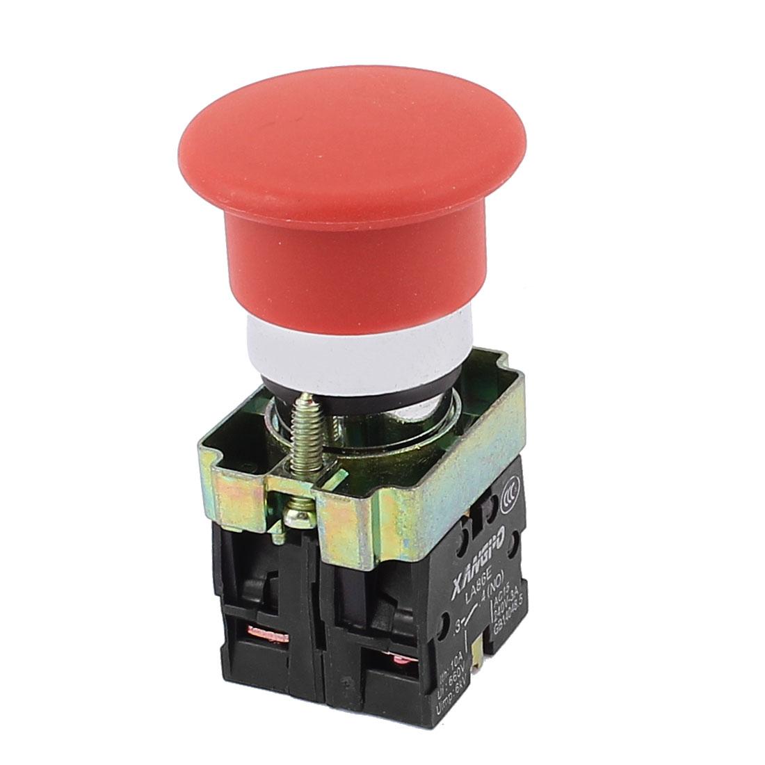 Red Mushroom Head 4-Terminal 1NC+1NO Emergency Push Botton Switch AC 660V 10A