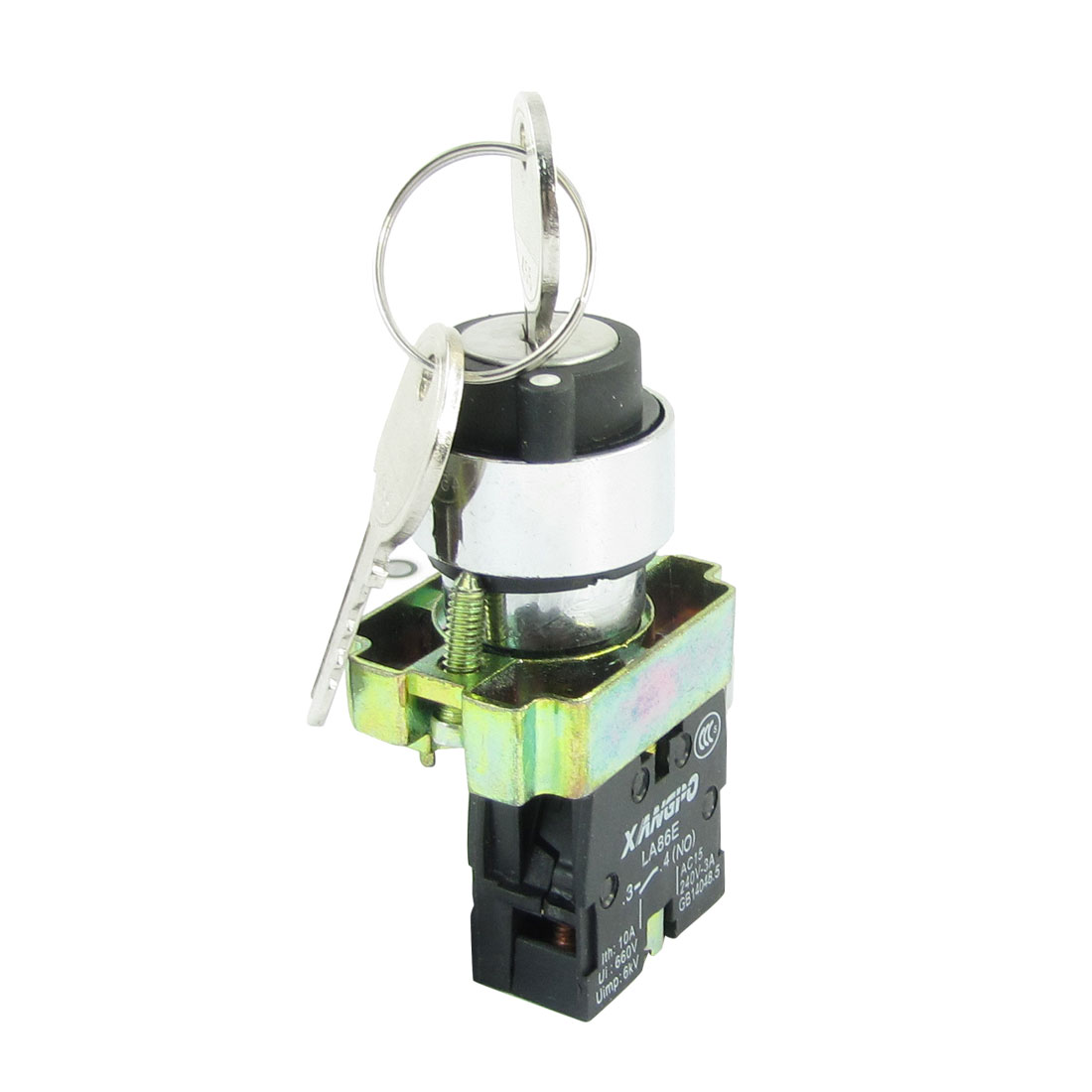AC 240V 3A 1NO LA86E-BG21 Key Rotary Start Loking Style Push Button Switch