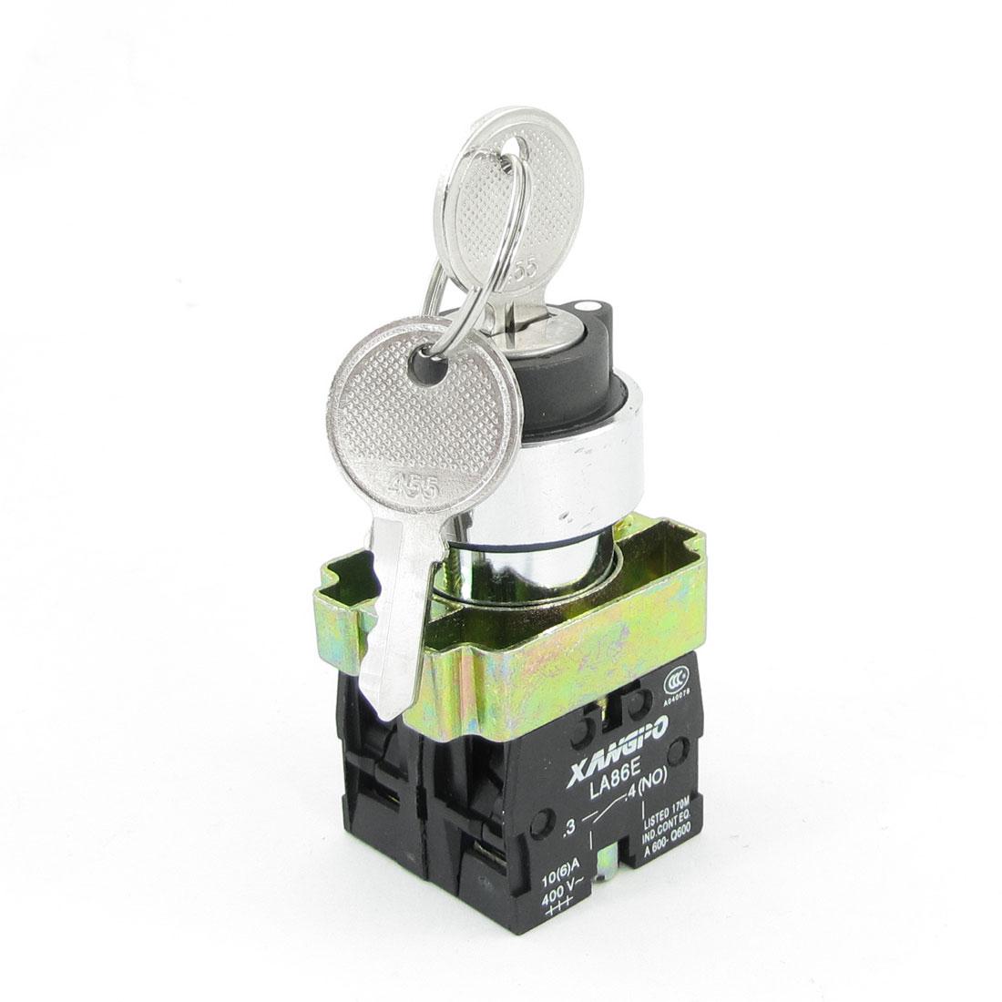Panel Mounted Key Rotary Start Locking Pushbutton Switch 400VAC 10A 2NO