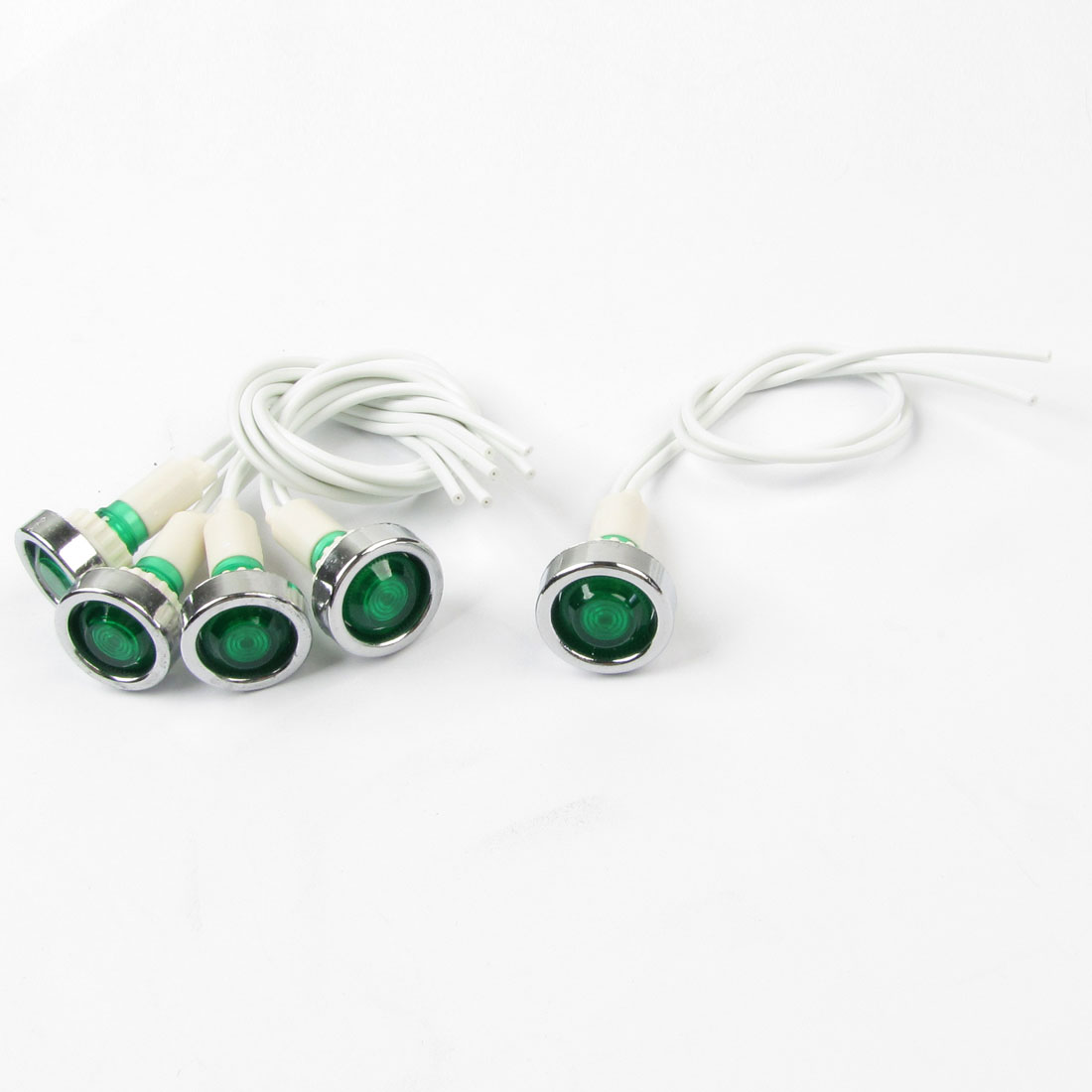 "5 Pcs AC 220V 7.9"" Long Cable Green Bulb Power Indicator Dash Pilot Light"