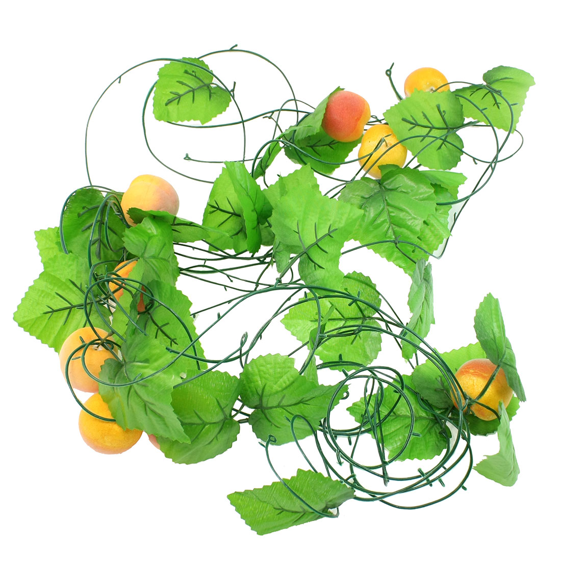 7.9Ft Length Emulational Green Leaf Peach Hanging Vine Decoration 5 Pcs