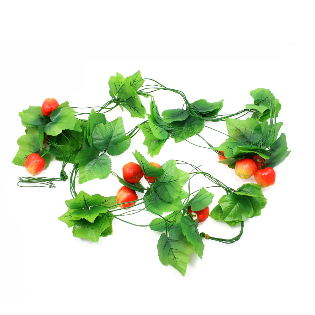 5 Pcs Green Heart Shape Leaf Emulation Tomato Fruit Hanging Vine 8.2Ft Length