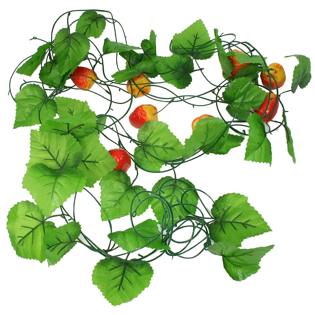 5 Pcs Green Leaf Emulation Strawberry Fruit Hanging Vine 7.5Ft Length