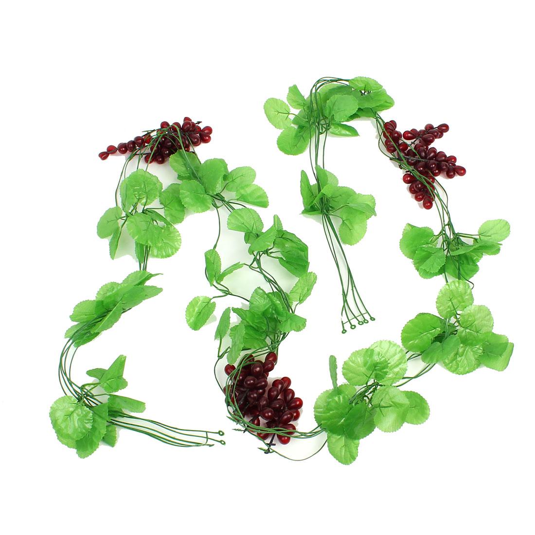 5 Pcs Emulational Green Leaf Purple Grape Fruit Hanging Vine 7.2Ft Length