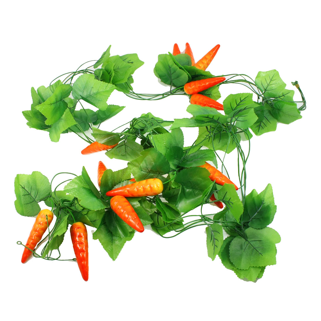 7.2Ft Long Emulational Green Leaf Chili Fruit Hanging Vine Decoration 5 Pcs