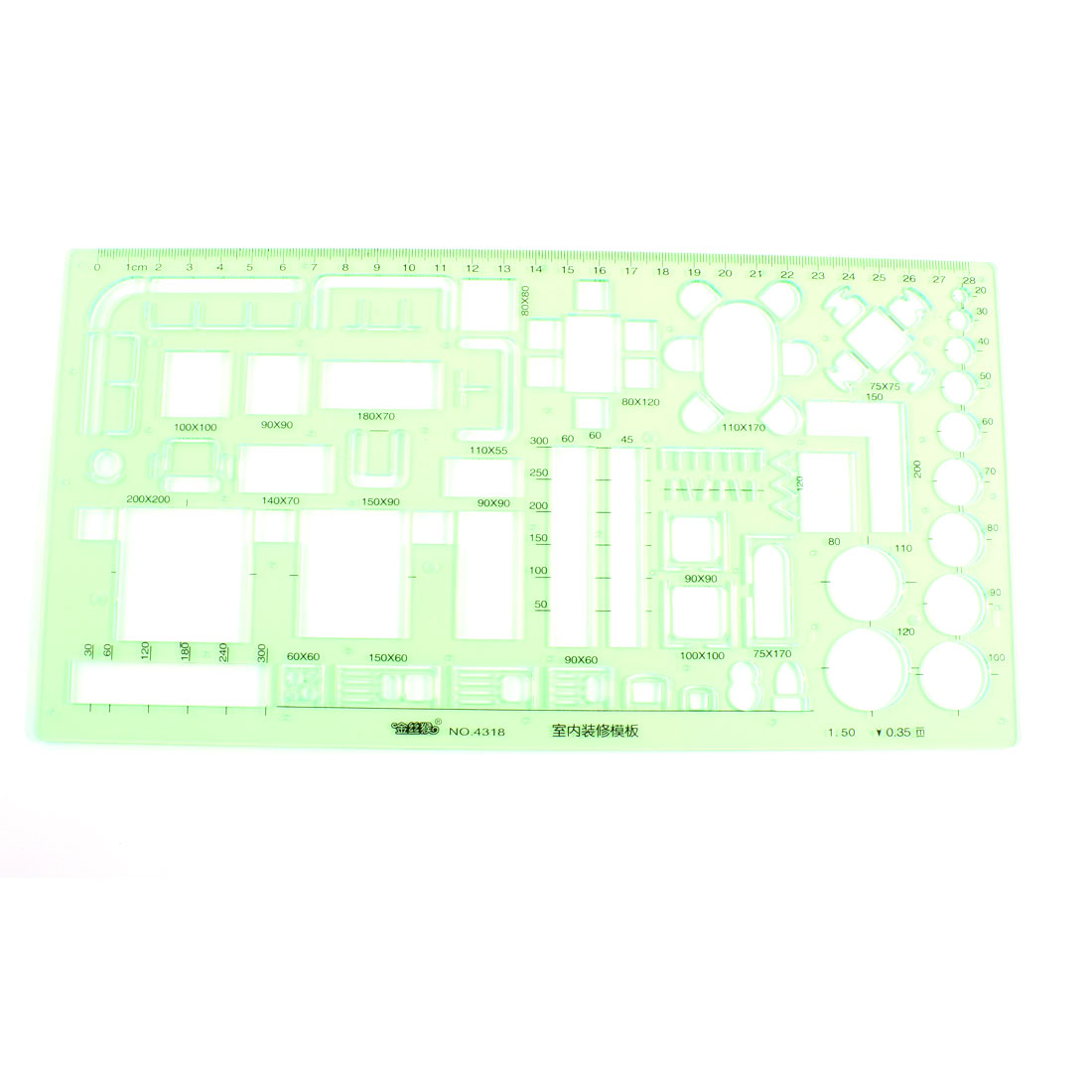 Clear Green Plastic Geometric Drawing Upholstery Template Ruler 0-28cm