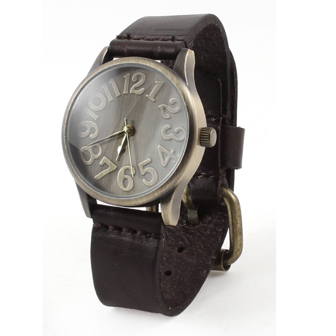 Dark Brown Arabic Number Dial Faux Leather Quartz Wrist Watch for Men