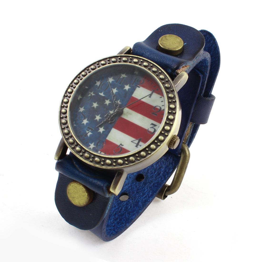 Blue Faux Leather Strap Band Star Stripe Pattern Quartz Wrist Watch for Ladies