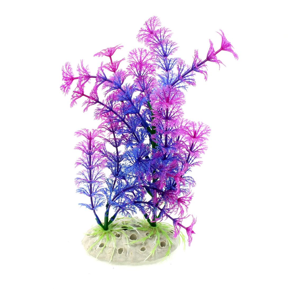 "9.4"" Height Simulation Violet Blue Aquatic Plant Ornament for Aquarium"