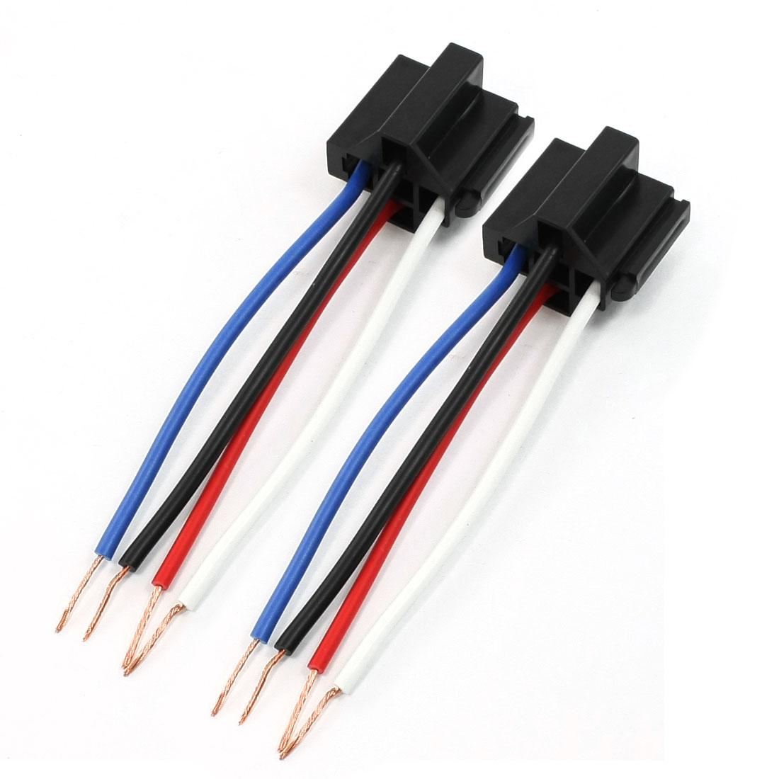 2 Pcs Car Vehicle Light Lamp Black Plastic Flat 4 Pin Female Socket