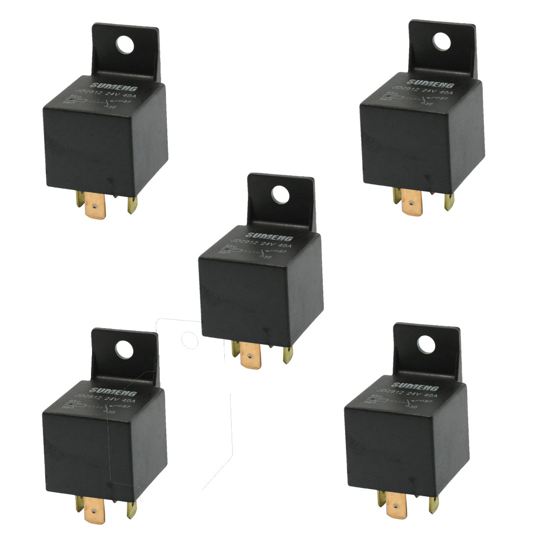 5 Pcs Insulation Housing Car Relay 4 Pin Terminals 1NC SPST 24VDC 40A