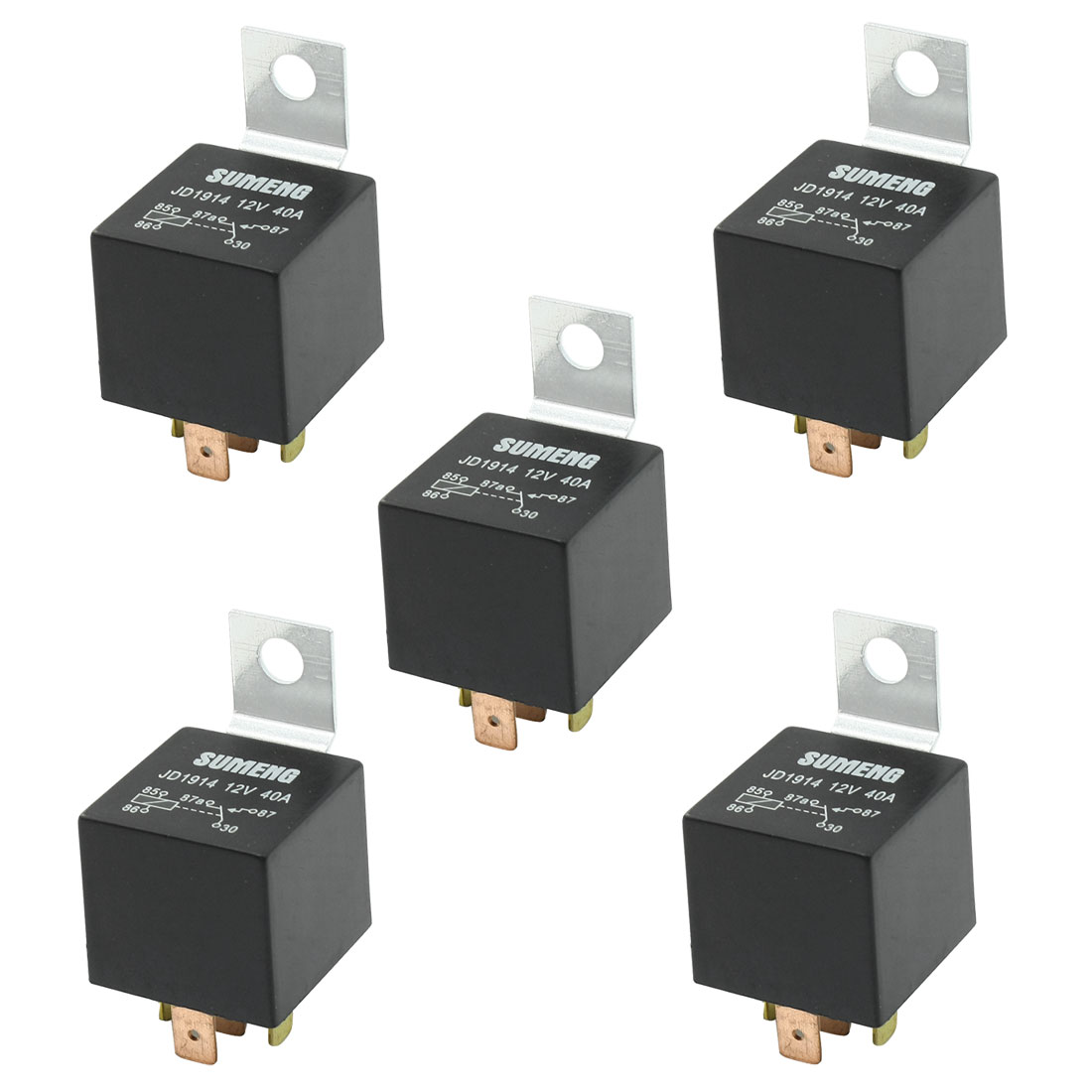 DC 12V 40A 1NO 1NC SPDT 5 Pin Male Plug Truck Car Power Relay 5 Pcs