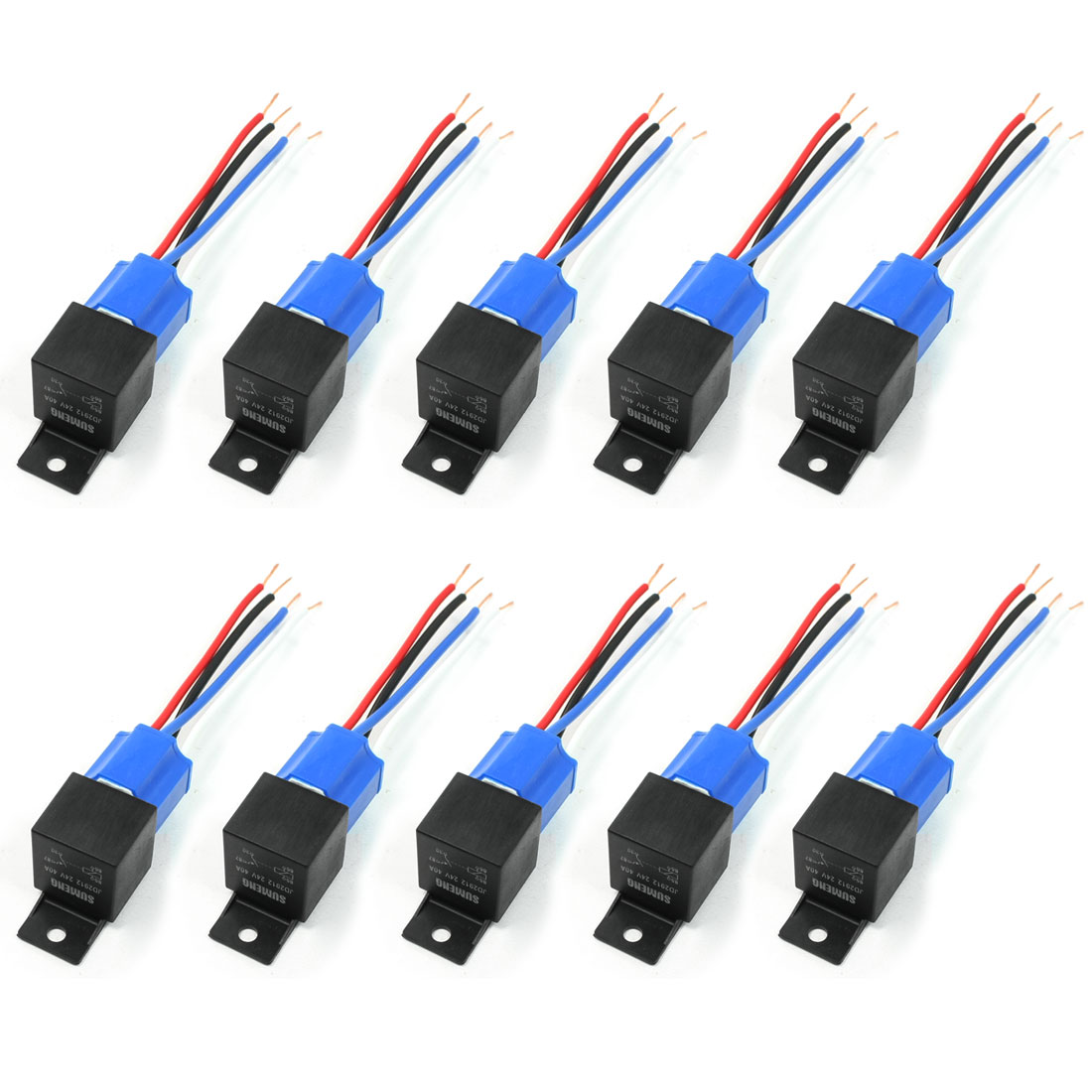 40A 24V DC Harness Wire Ceramic Socket Car Stereo Alarm SPST 1NC Relay 10 Pcs
