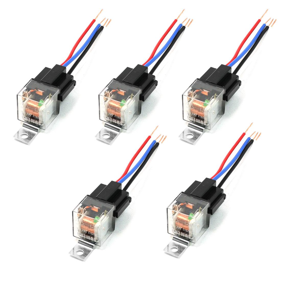 5PCS 4 Wire Insulation Housing Green Pilot Lamp SPST JD2912 Car Relay 24VDC 80A