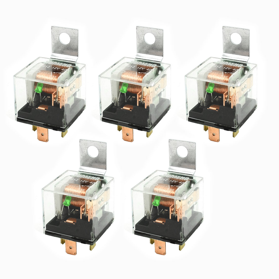 5 Pcs Car Auto Security Green Indicator Light 4P Power Relay DC 12V 40A