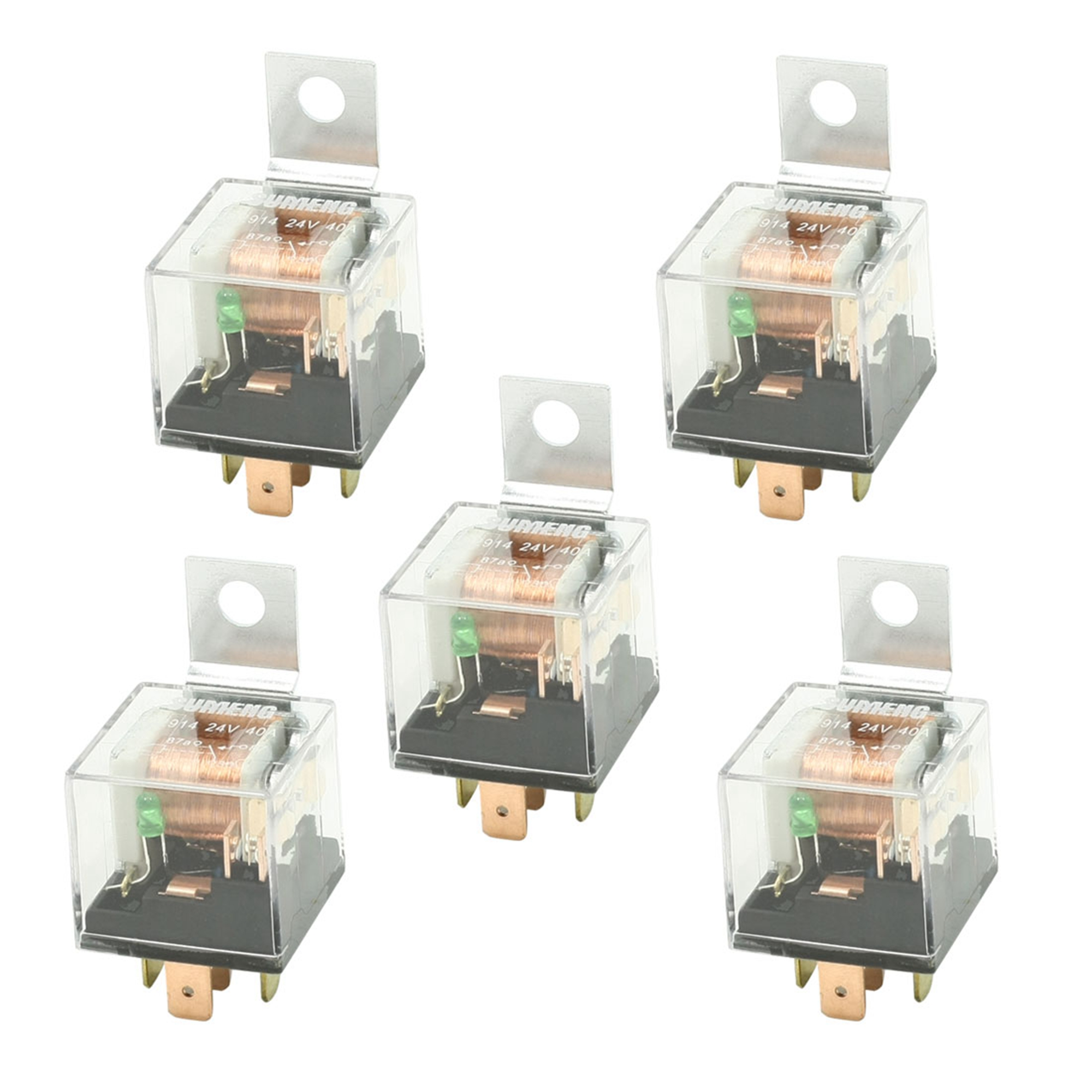 DC 24V 40A 1NO+1NC SPDT 5 Pin Male Plug Green Pilot Lamp Auto Car Relay 5 Pcs