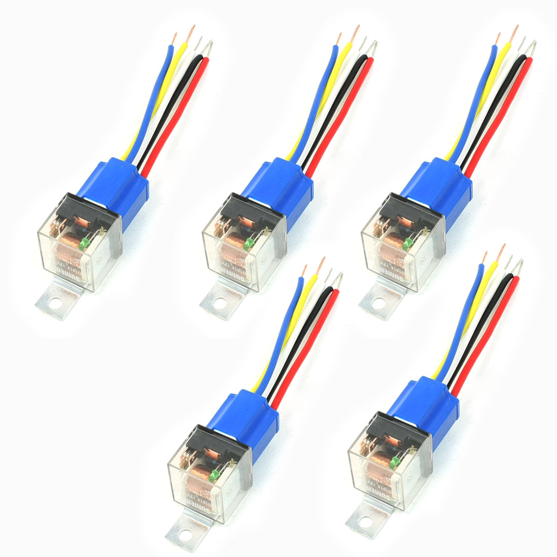 5 Pcs 5-Wires Ceramic Socket Green Pilot Lamp NO+NC SPDT Car Relay DC12V 40A