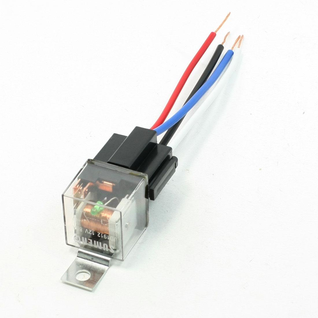DC12V 80A 4P Female Socket 4 Wires Green Indicator N/C SPST Car Relay 10 PCS