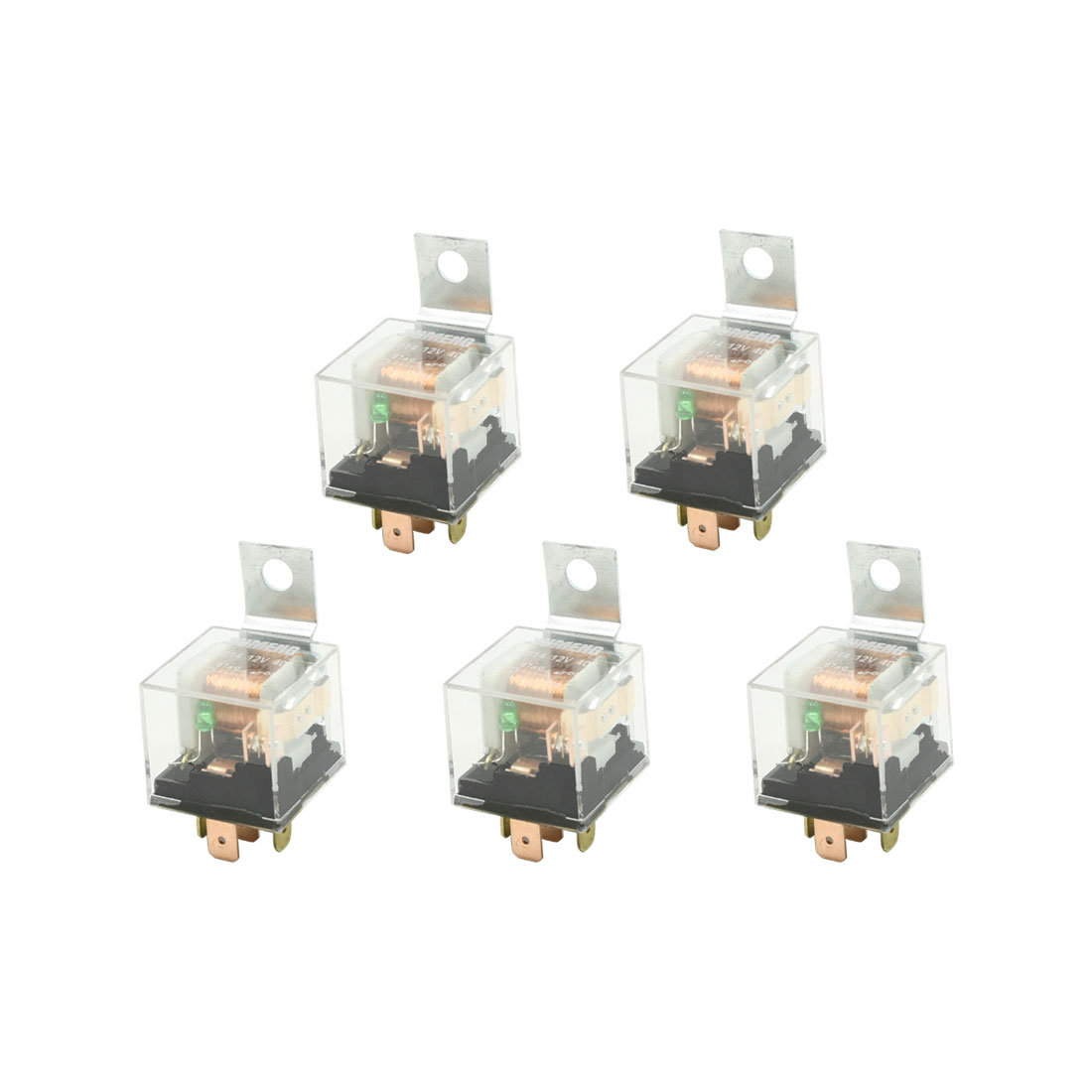12VDC 40A 5P 1NO 1NC SPDT Green Indicator Auto Car Power Relay 5 Pcs