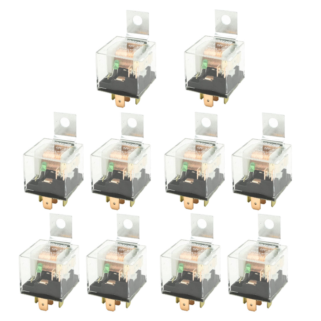 12V 40A 5P SPDT 1NO 1NC Green Pilot Lamp JD1914 Car Relay 10 Pcs