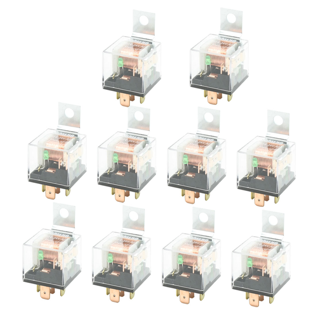 DC 24V 40A 1NC+1NO SPDT 5 Pin Green Light Pilot Lamp JD2914 Car Relay 10 Pcs