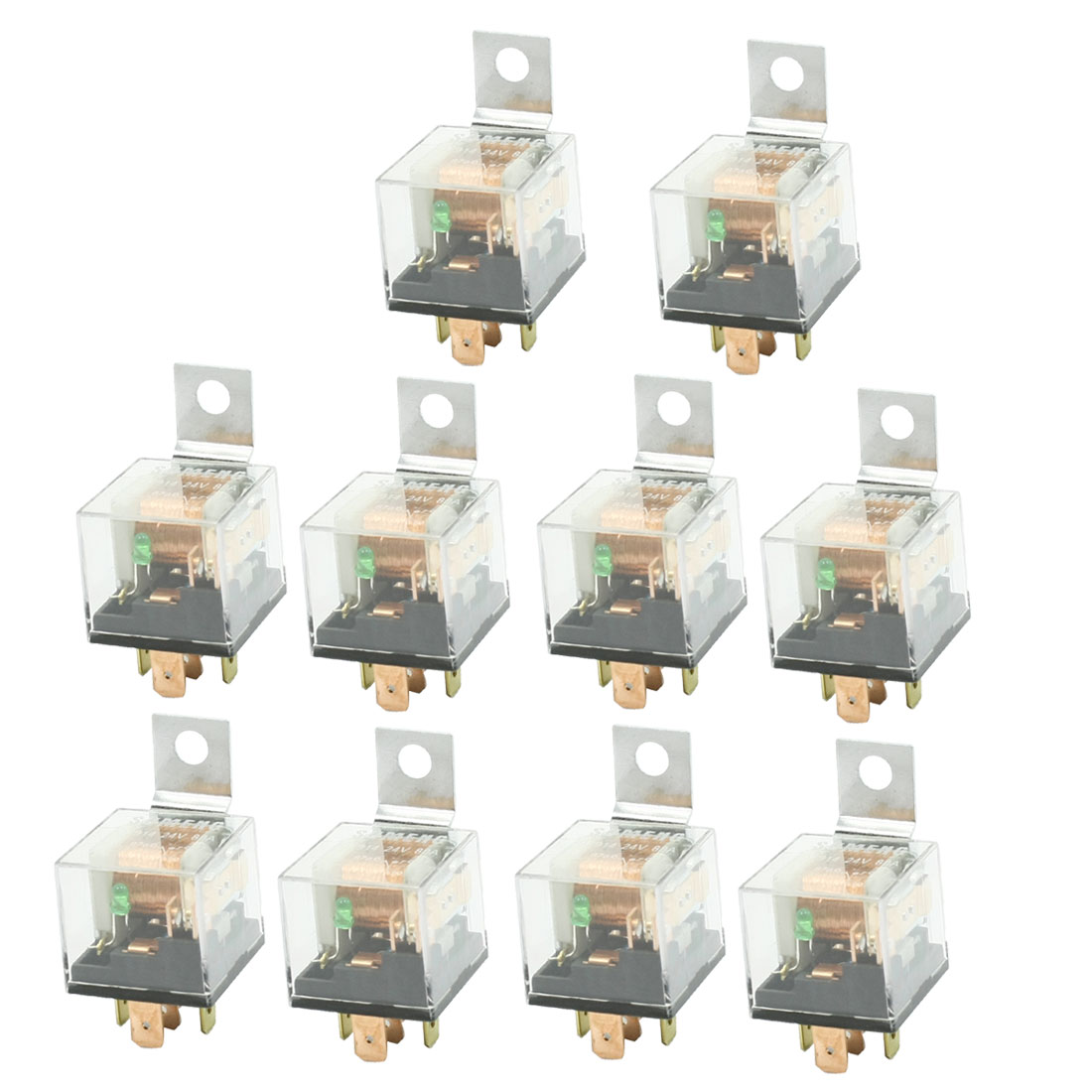 24VDC 80A 4P NO+NC SPDT Green Indicator Auto Vehicle Car Power Relay 10 Pcs