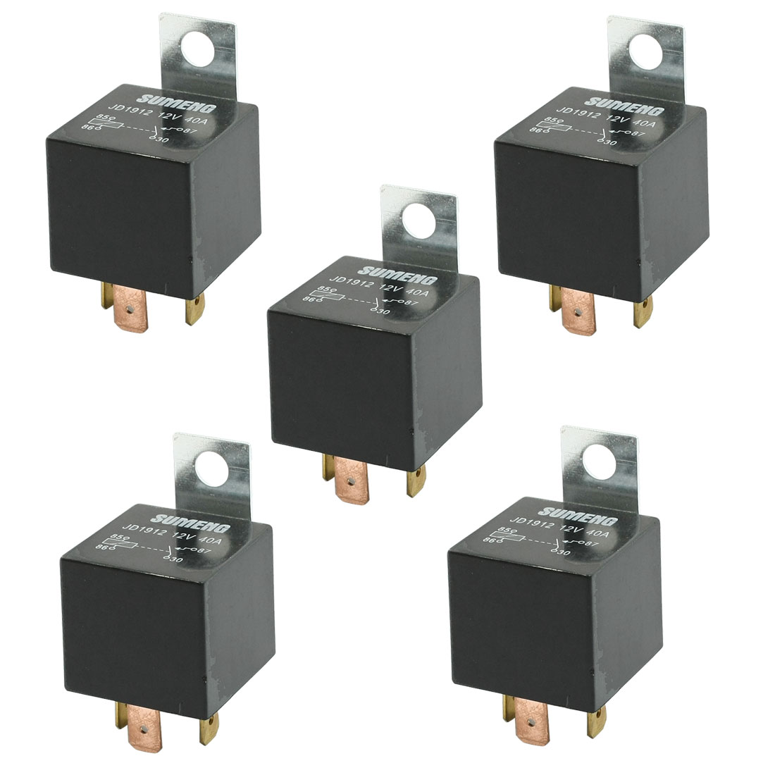 5 Pcs Normal Open SPST 4P Vehicle Auto Car Relay DC 12V 40A