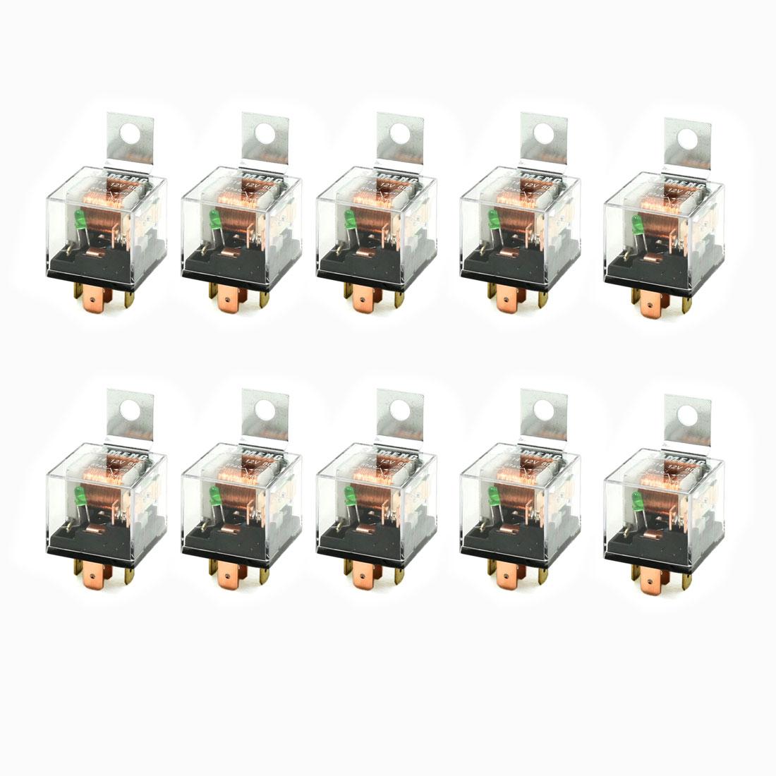 10 Pcs 1NC 1NO SPDT 5P Green Indicator Light Auto Car Relay 12VDC 80A