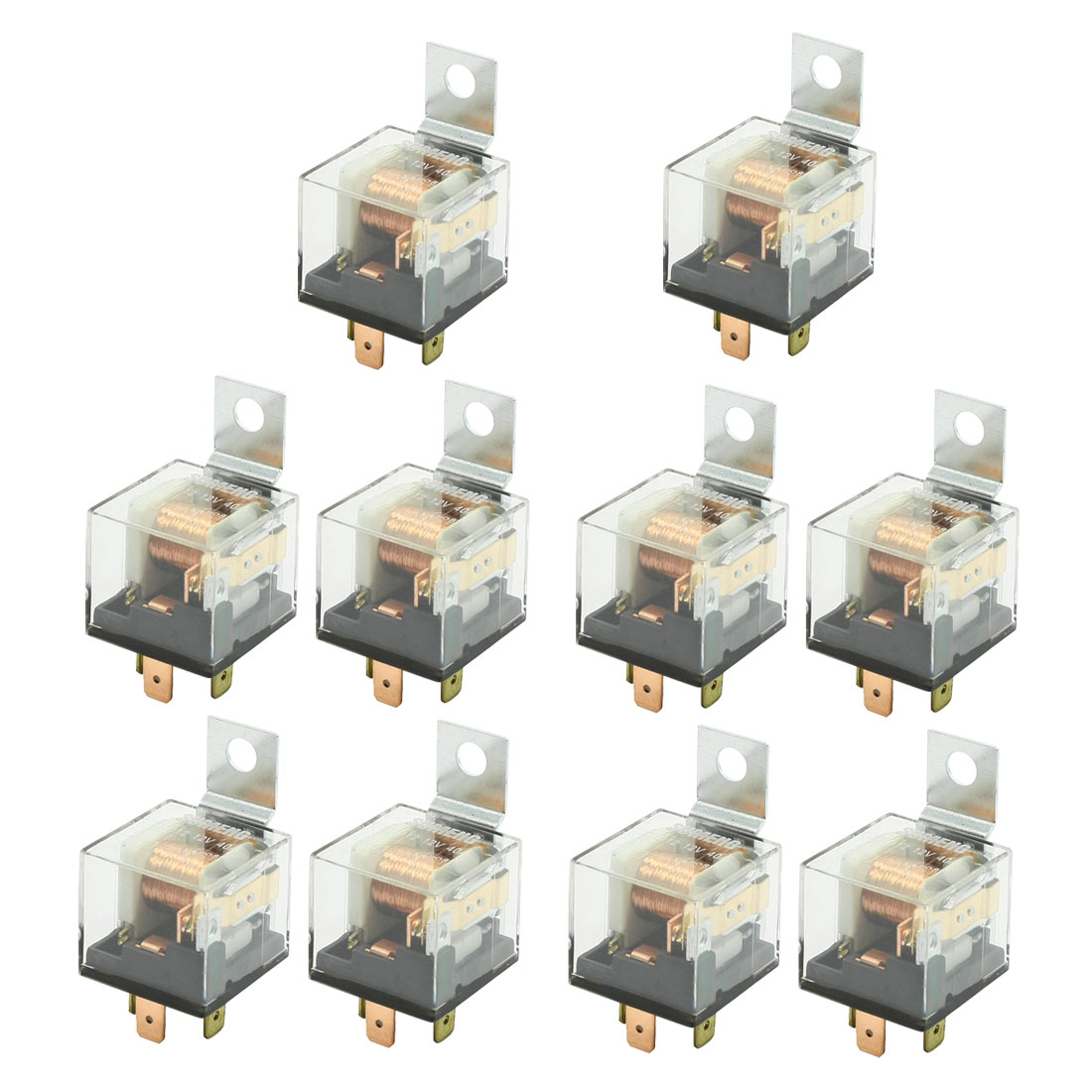 10 Pcs 4 Pin Male Connector Normal Close SPST JD1912 Car Relay DC 12V 40A