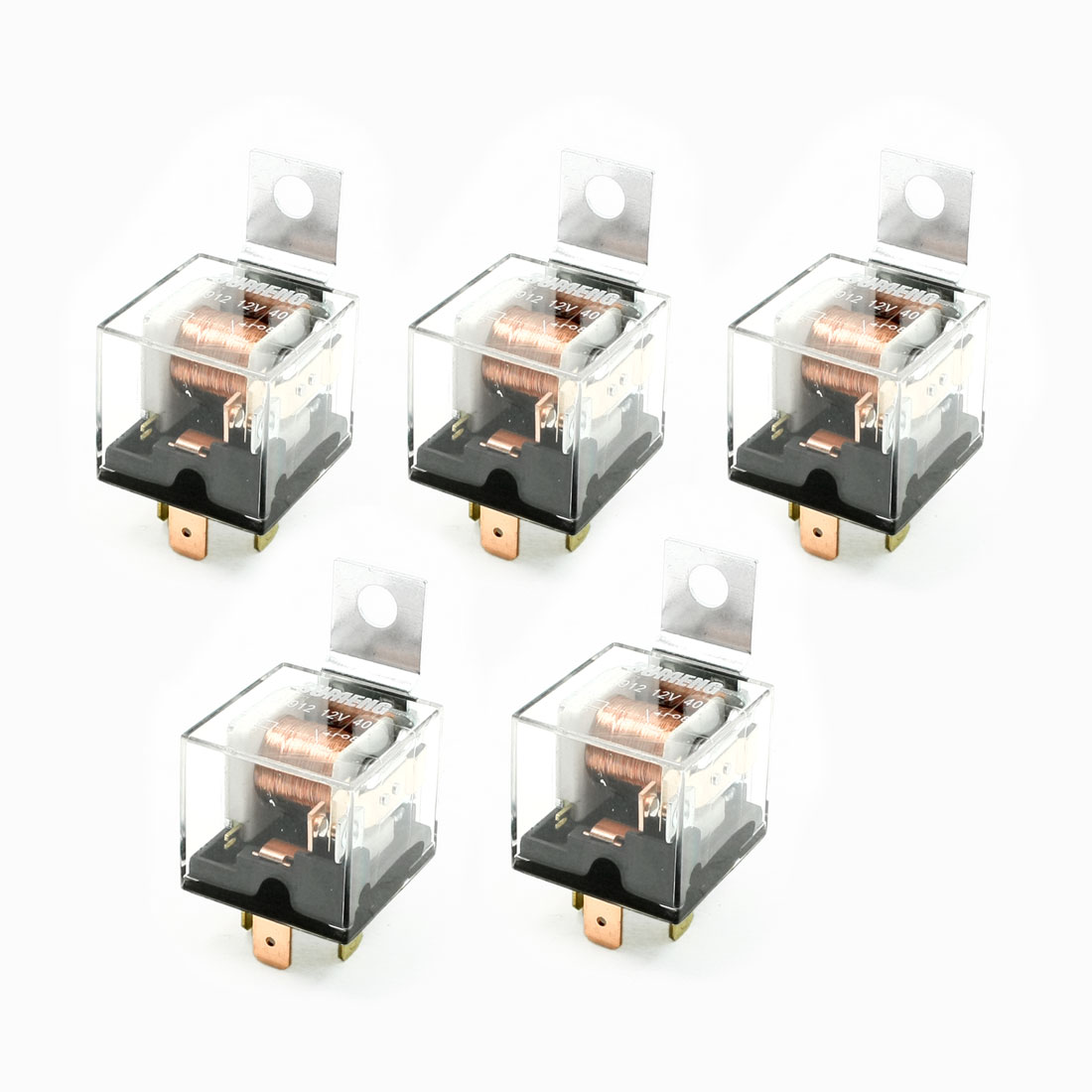 5 Pcs JD1912 Model SPDT 1NO+1NC 4 Pin Car Auto Relay DC 12V 40A
