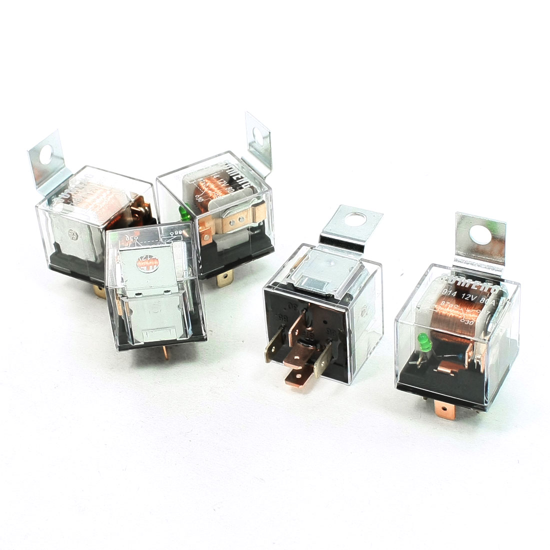 5 Pcs 1NC+1NO SPDT 5 Pins Green Pilot Lamp Automotive Truck Car Relay DC 12V 80A