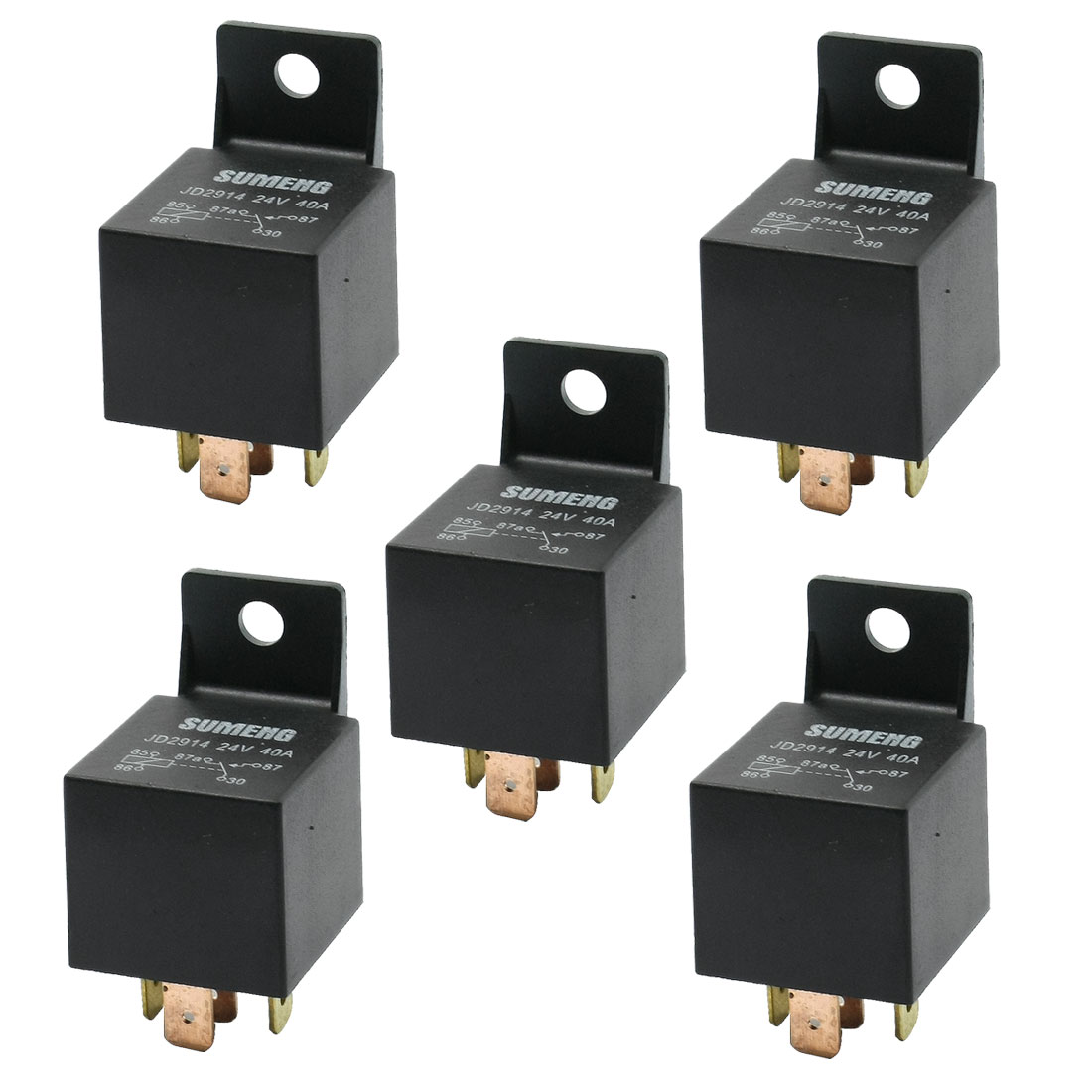 DC 24V 40A 1NO 1NC SPDT 5 Pins Male Plug Automotive Truck Car Relay 5 Pcs