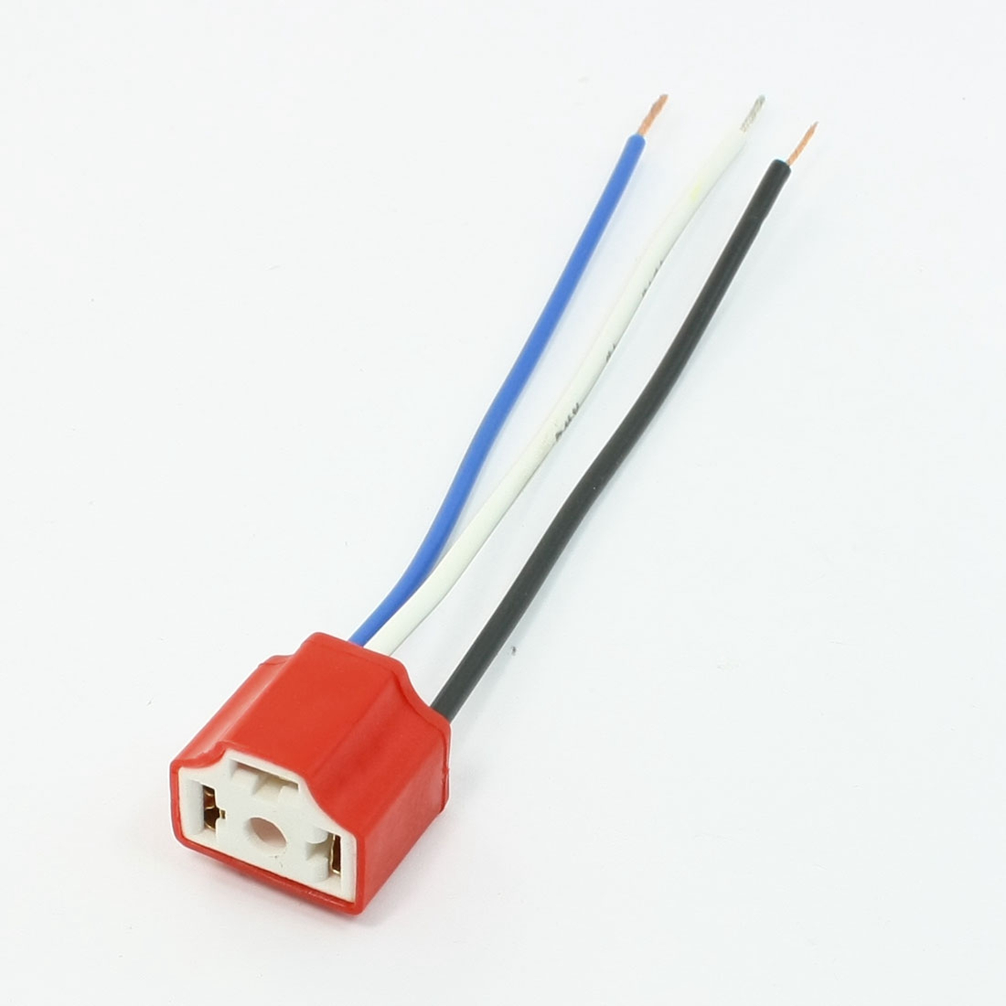 5PCS Car Auto Headlight Light Holder Red 3 Pin Female H4 Ceramic Socket