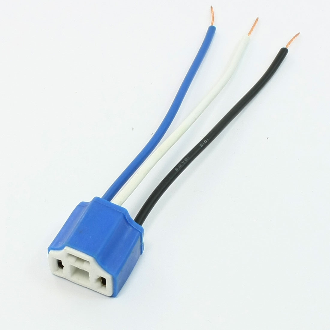 Auto Blue Rubber Coated Ceramic 3 Terminal 3 Wire H4 Light Lamp Socket 5pcs