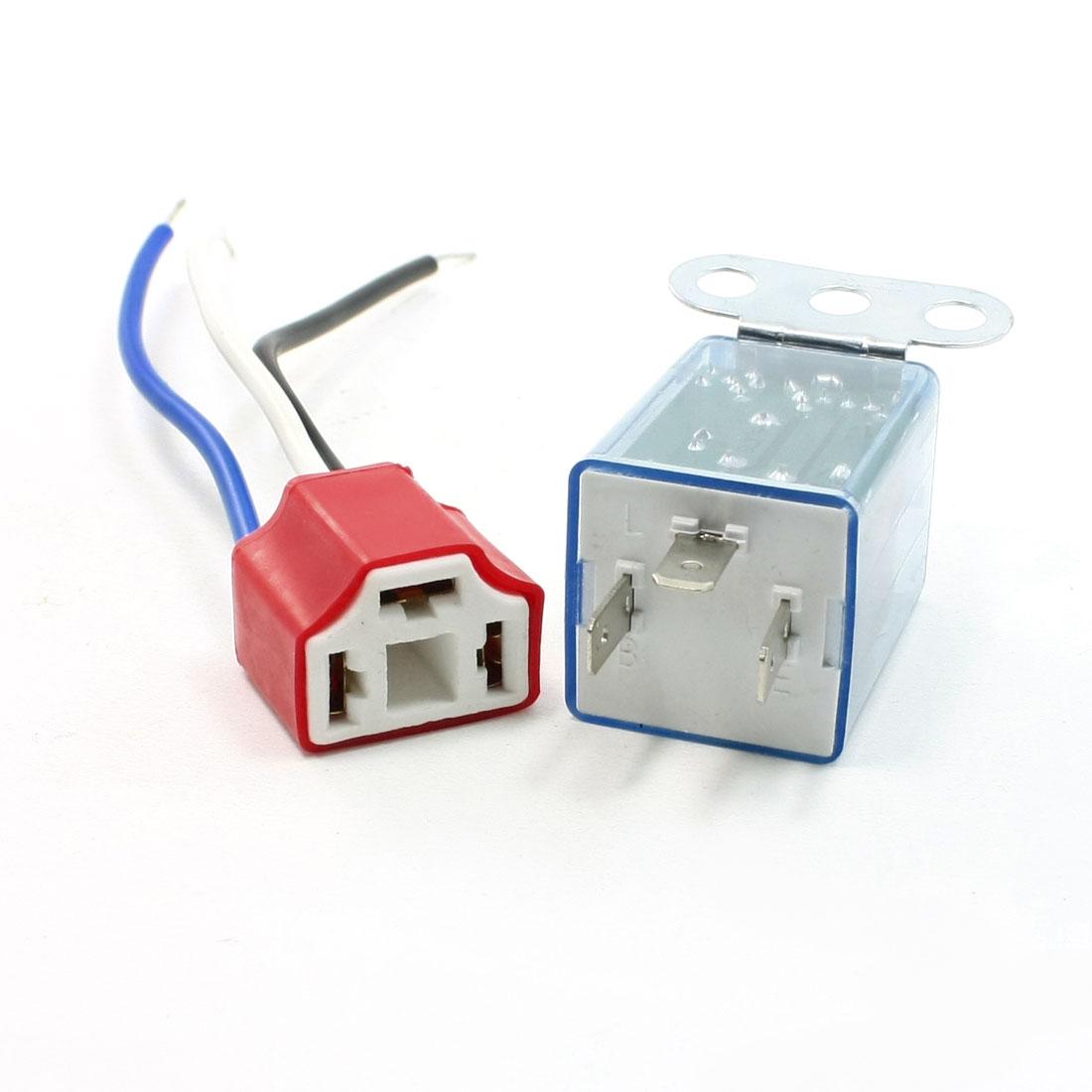 2 Pcs Wired Red Female Ceramic Socket LED Indicator Car Flasher Relay 12VDC
