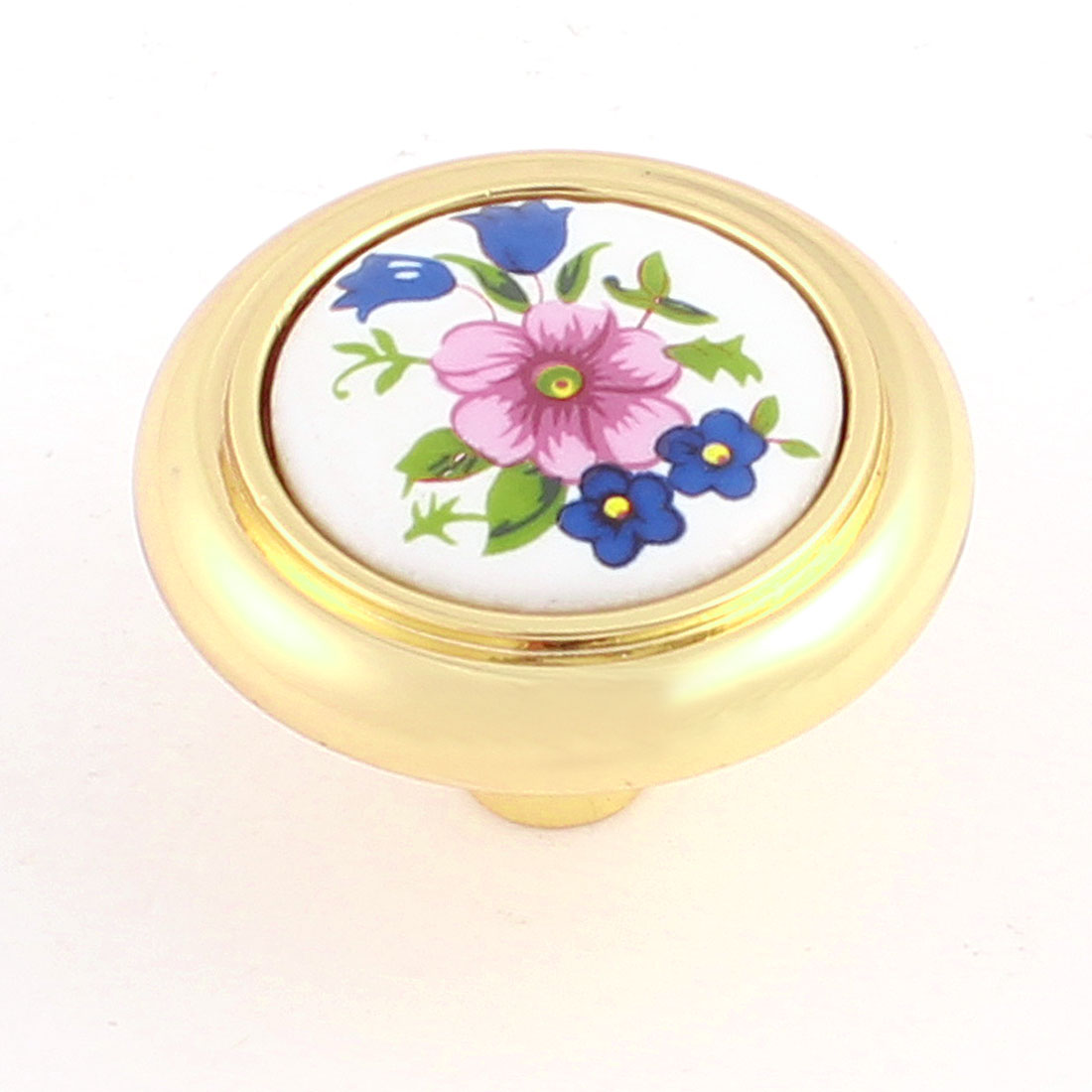 Home Cabinet Furniture Door Floral Pattern Ceramic Knob White Gold Tone