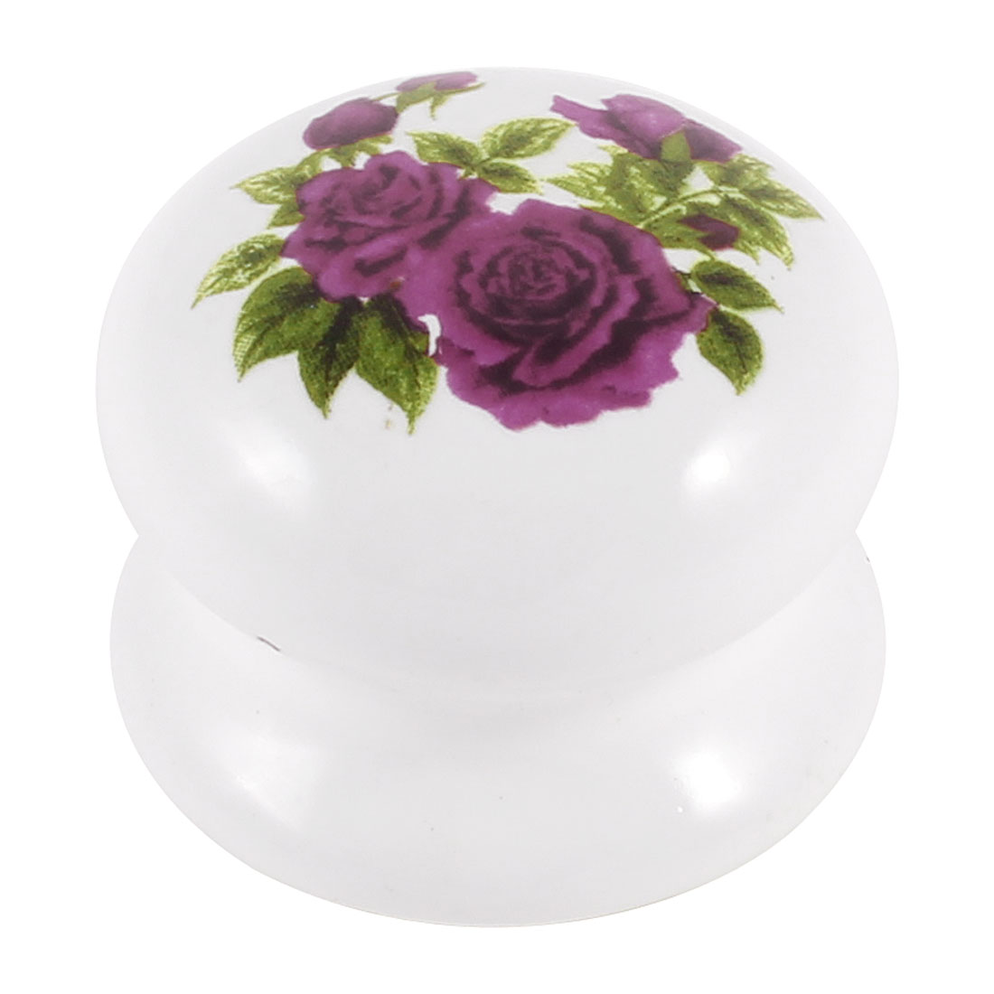 Household Dark Pink Flower Print White Ceramic Cupboard Drawer Knob Pull Handle