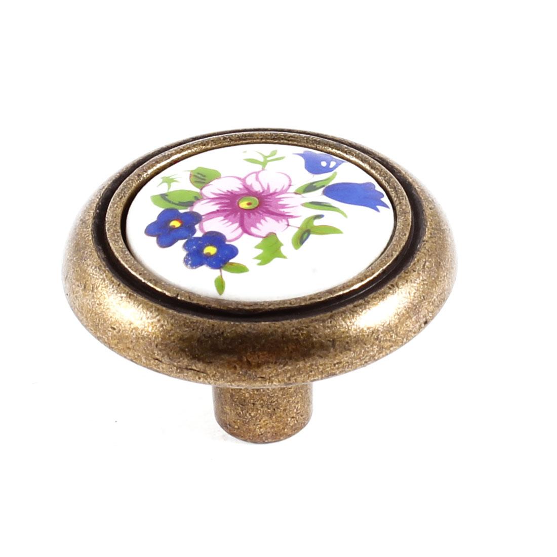"Bedroom 0.14"" Dia Thread Floral Print Ceramic Door Pull Handle Drawer Knob"