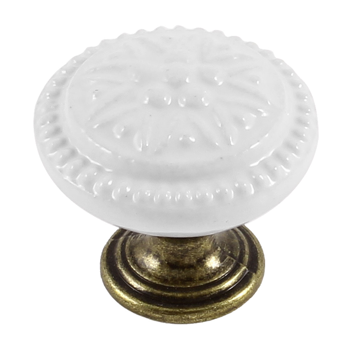Home White Flower Pattern Bronze Tone Metal Base Drawer Knob Pull Handle Grip