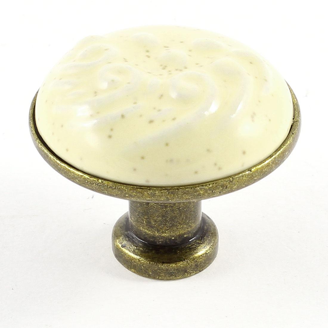 Household Embossed Beige Rounded Ceramic Cupboard Door Drawer Knob Pull Handle