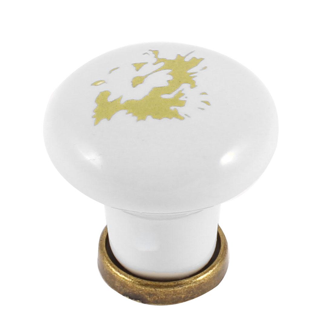 Home Ceramic Round Shaped Cabinet Drawer Handle Pull Knob White Bronze Tone