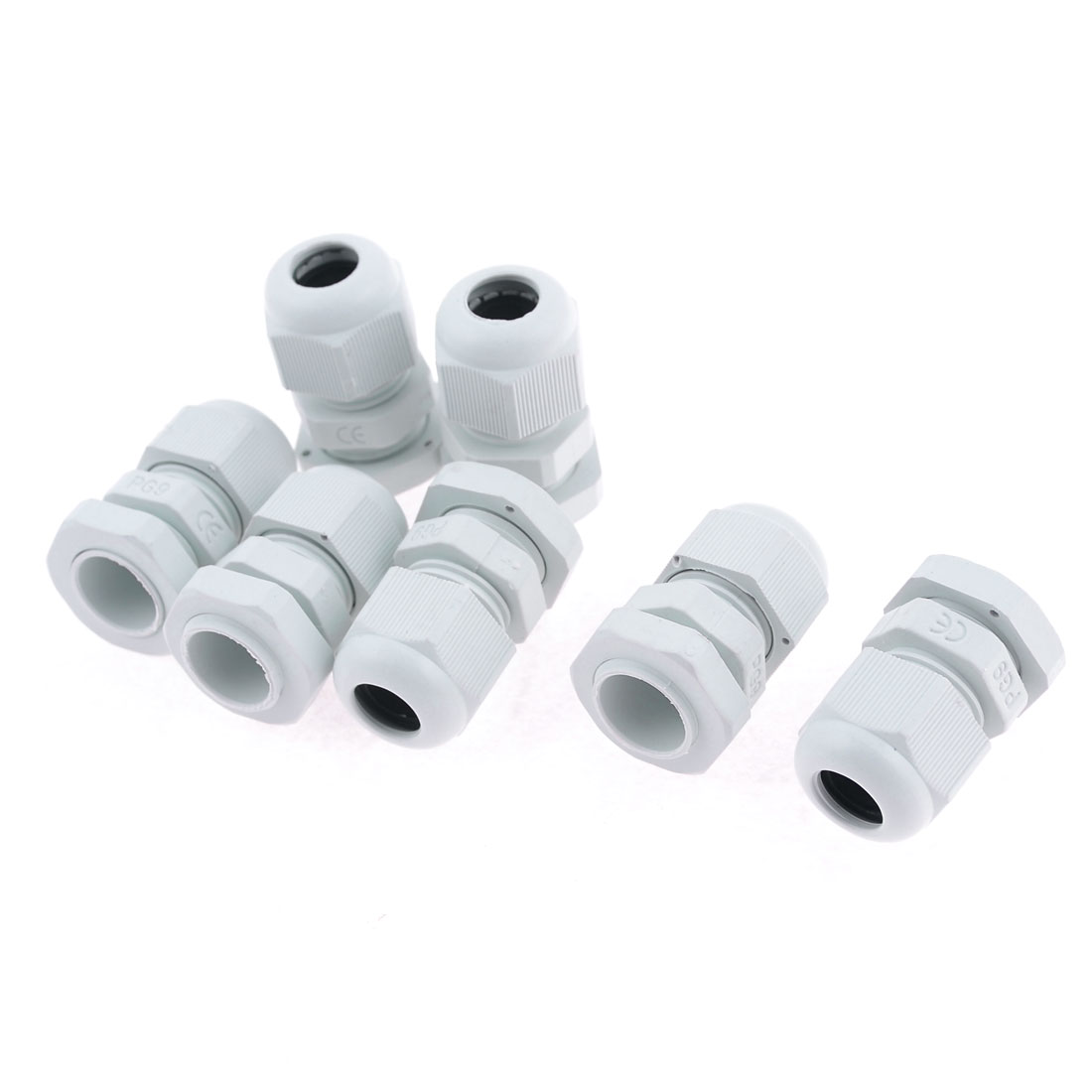 7 Pcs Water Proof PG9 Plastic Cable Glands Fasteners White