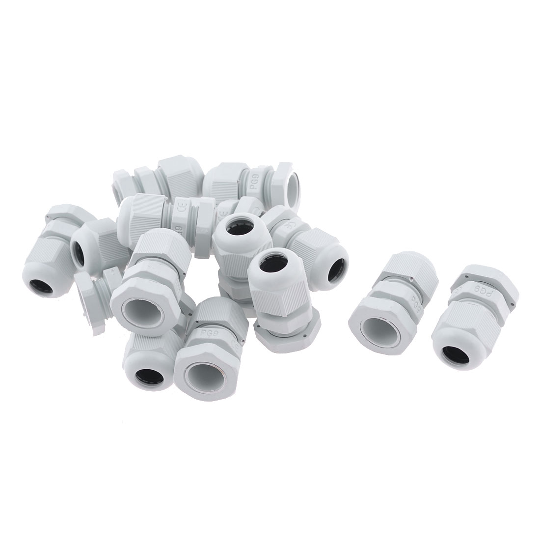 White Plastic 4-8mm Cables PG9 Waterproof Cable Connectors 15 Pcs