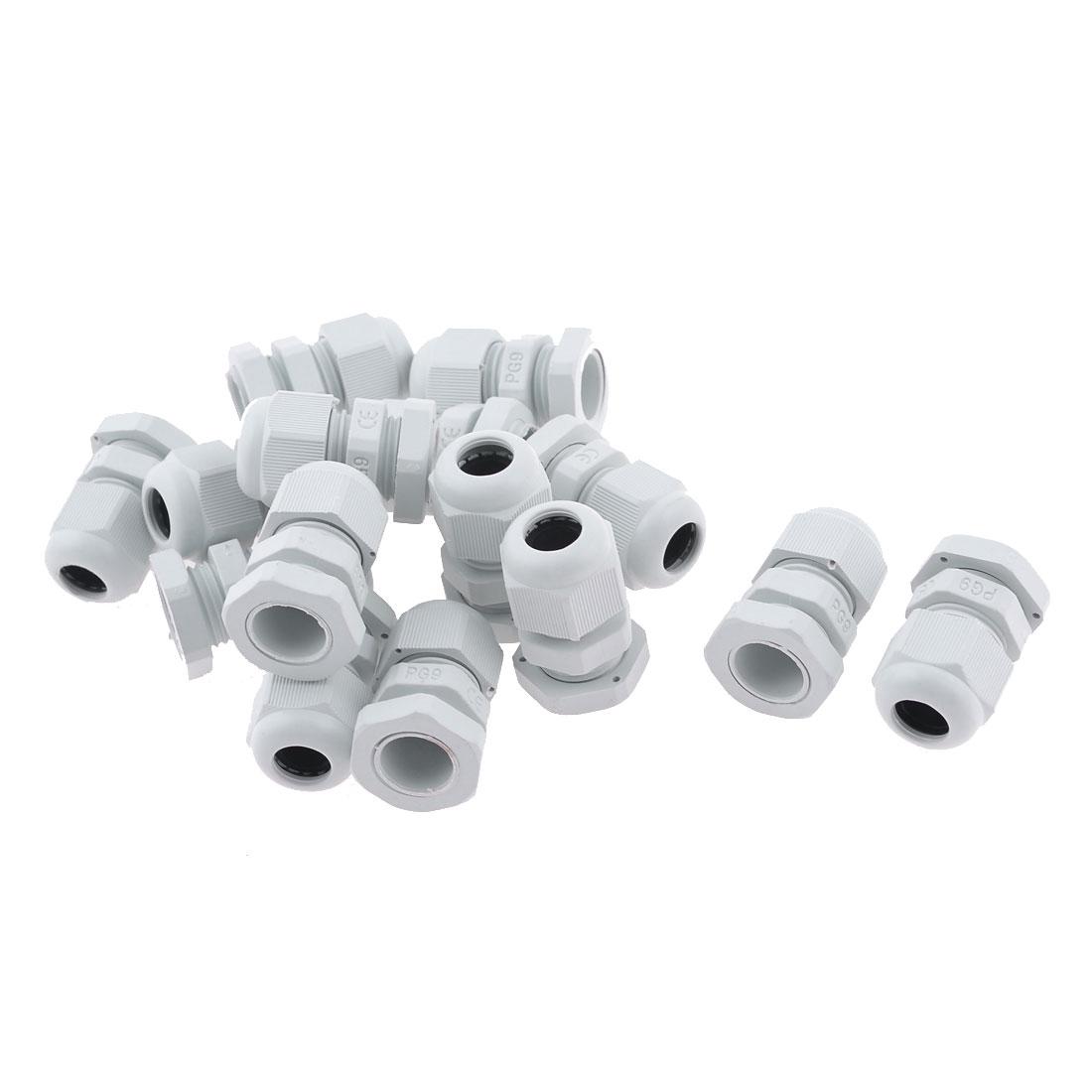 White Plastic 4-8mm Cables PG9 Waterproof Cable Connectors 15 Pcs