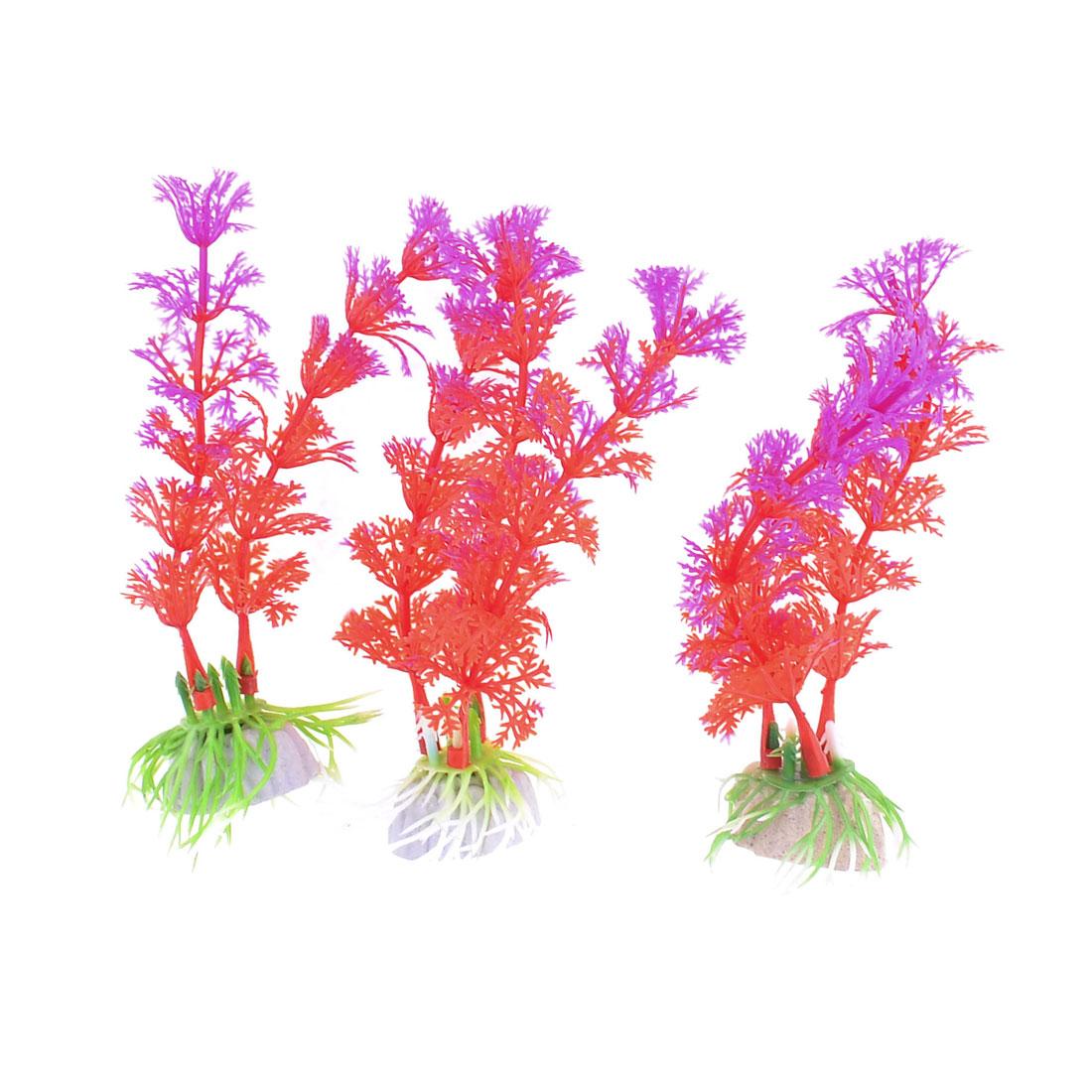"4.7"" Aquarium Ornamental Plastic Simulation Water Plant Purple Red 3 Pcs"
