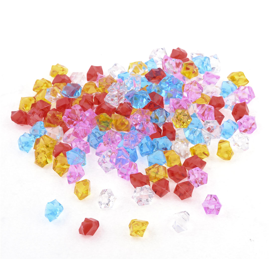 120 Pcs Assorted Color Plastic Faceted Beads Decor for Fish Tank Vase